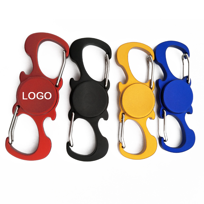 Multifunctional fidget spinner with carabiner and bottle opener