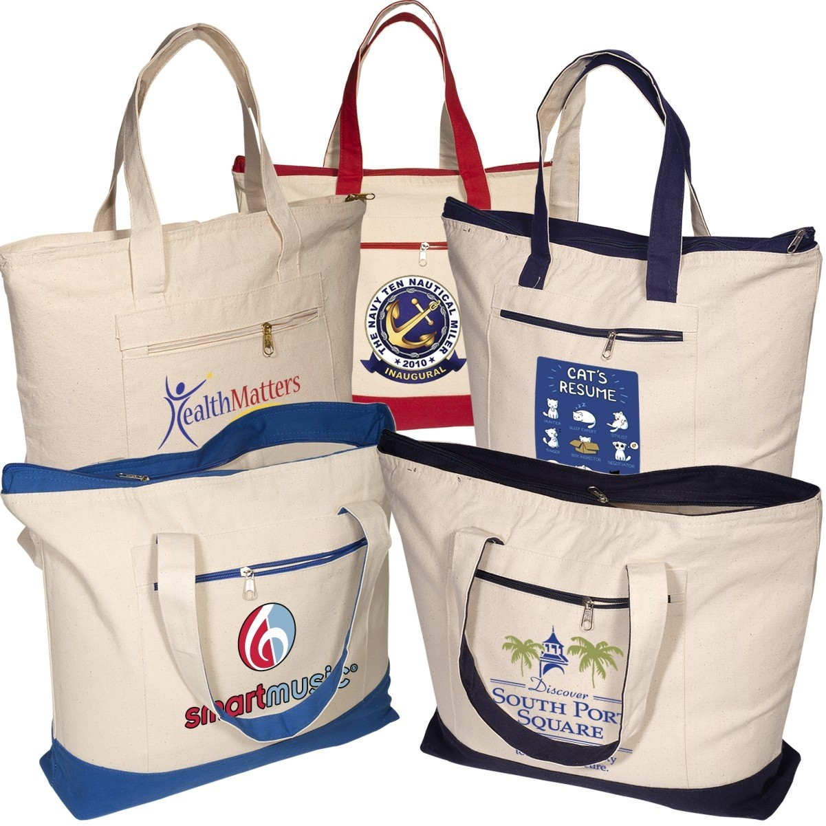 2019 Quick Seller Zippered Cotton Boat Tote
