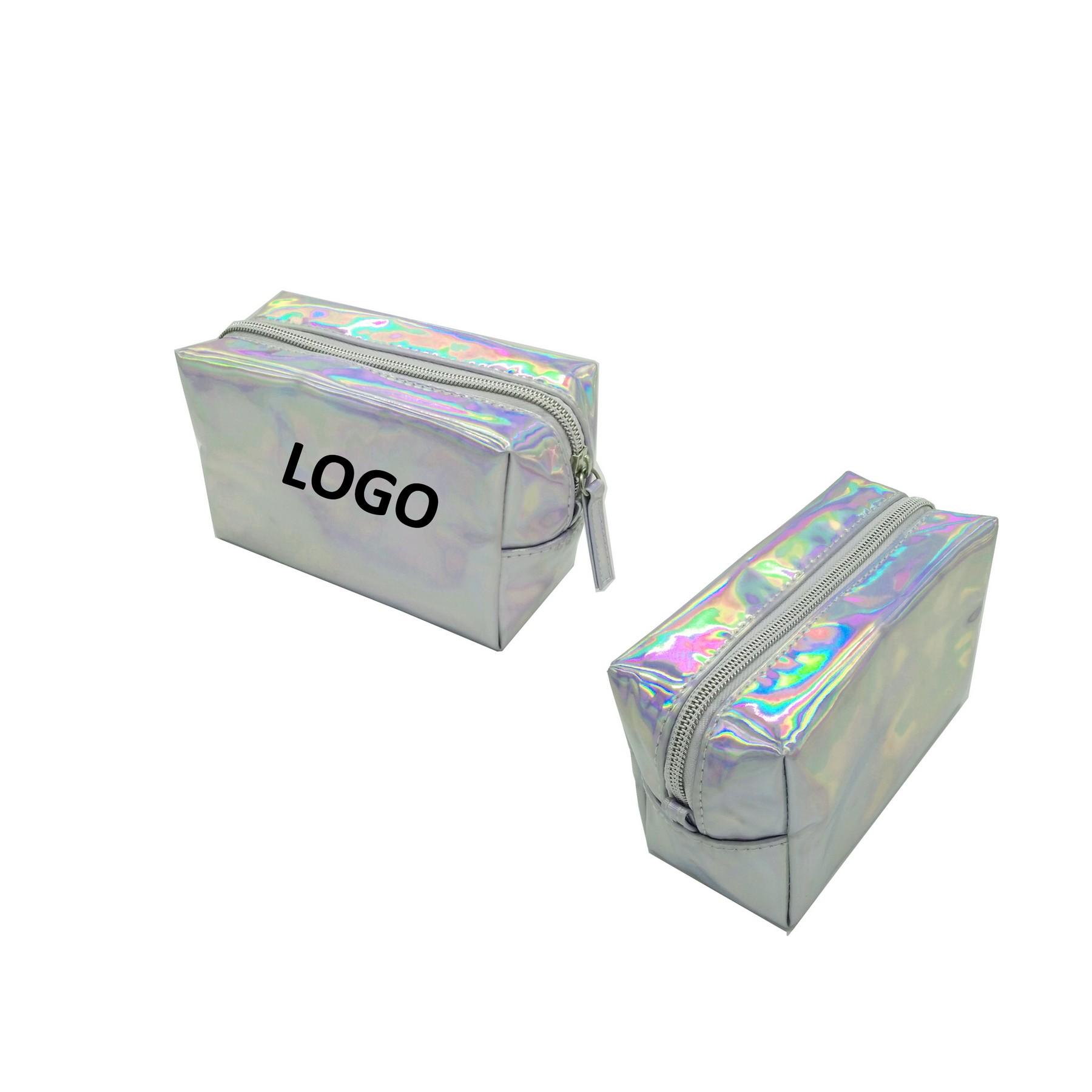 PVC Women Laser Magnificent Shiny Makeup Colorful Zipper Bag
