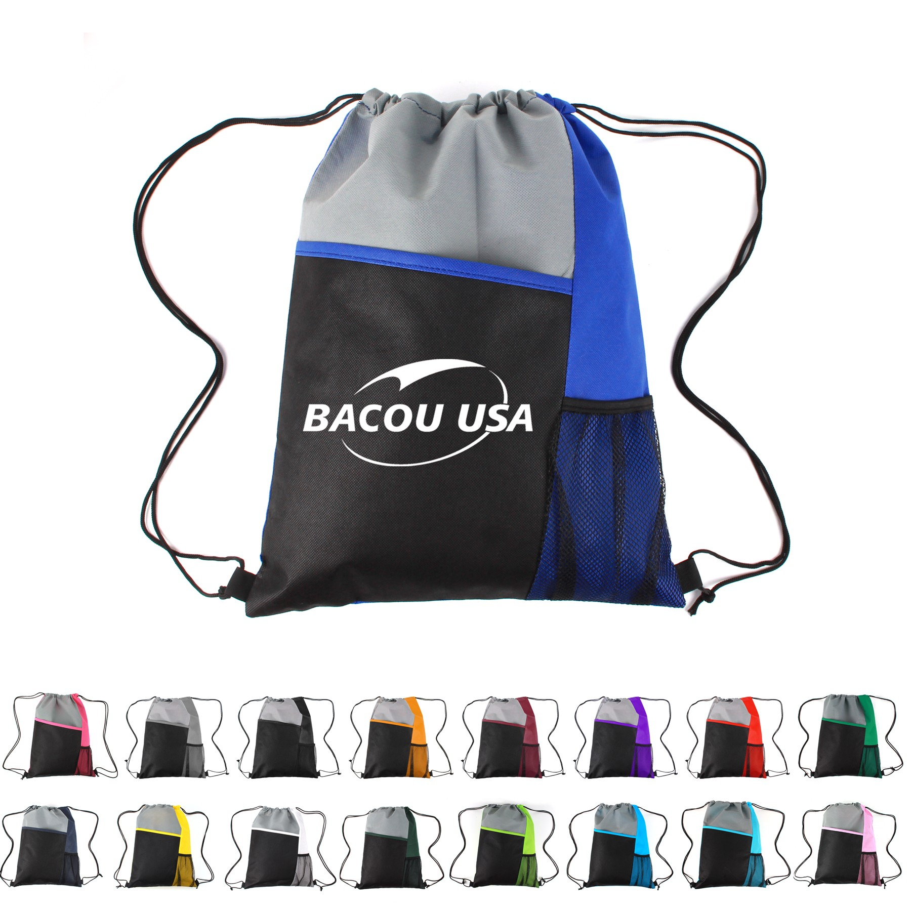 Mesh Pocket Tricolored Drawstring Sports Pack
