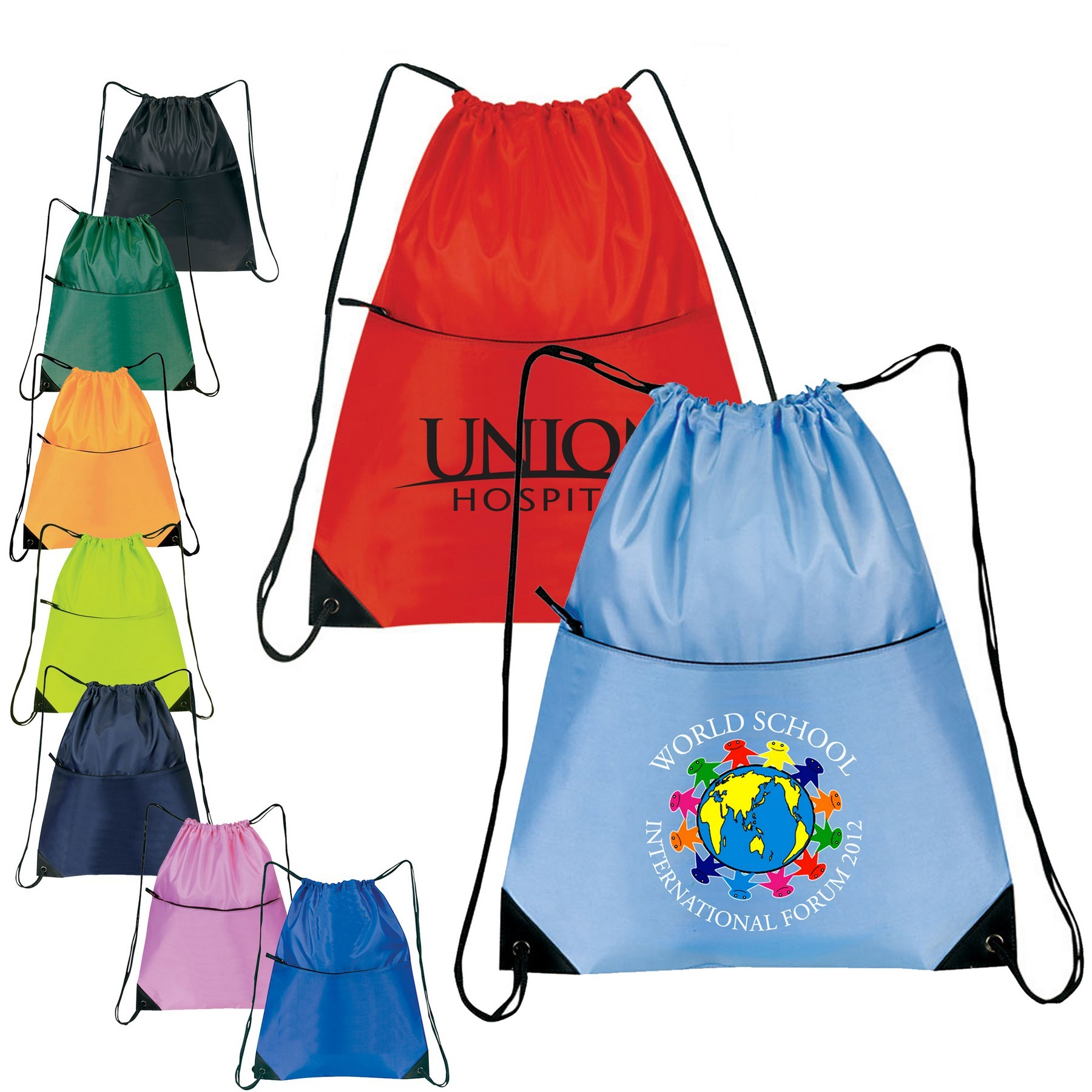 Promotional Nylon Zippered Drawstring Backpack