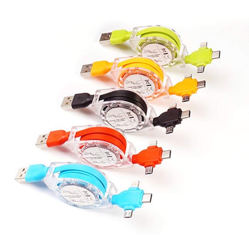 3 in 1 Transparent and Data Connection Charging Cable