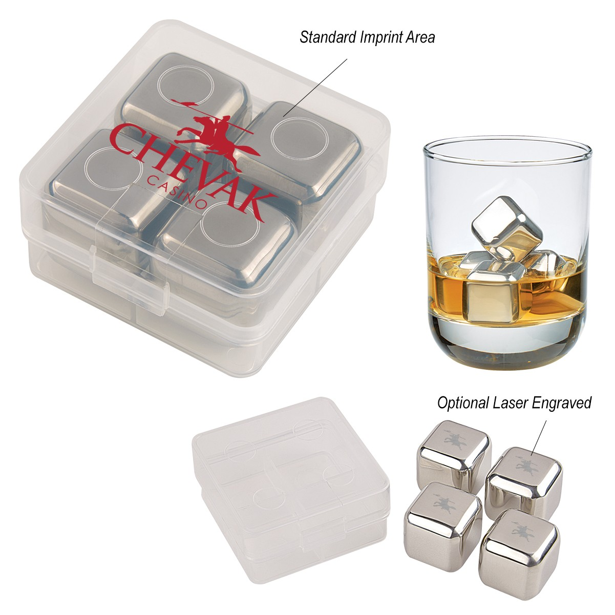 4 Pack Stainless Steel Ice Cubes