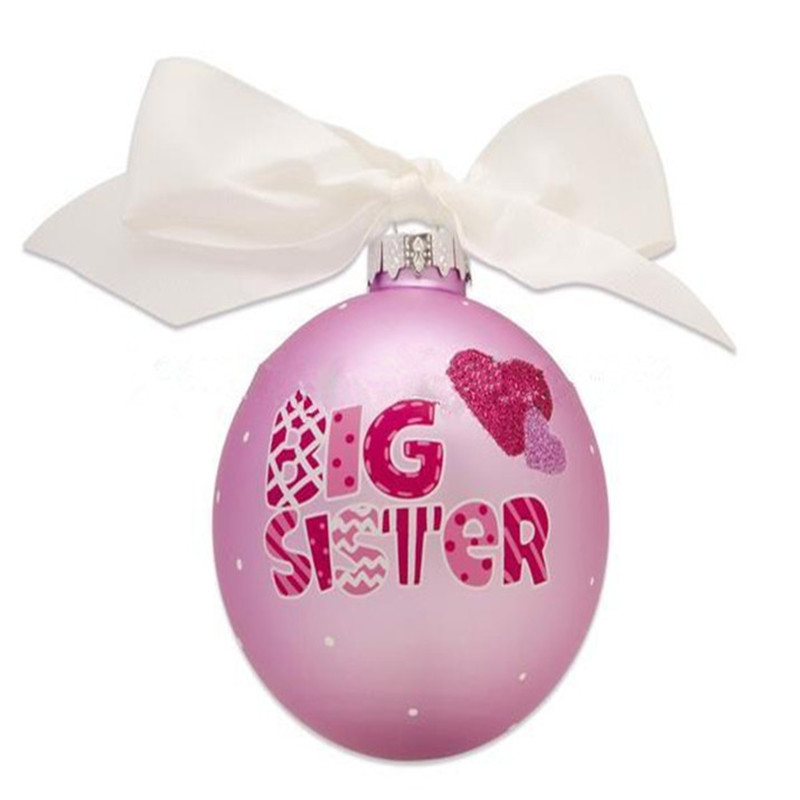 Glass Pink Christmas Ball with Bow